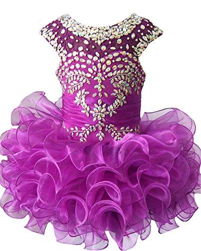 M_RAC Infant Girls Birthday Party Dress Custom Made Pageant Cupcake Dress 2 Purple -