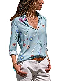 Tomteamell Womens Casual Blouse Button Down Chiffon Blouses