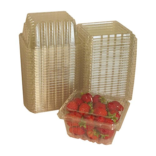 Plastic Clamshell Containers for Berries, Cherry Tomatoes, and Other Small Produce (Pack of 25) (Strawberry Paper Baskets compare prices)