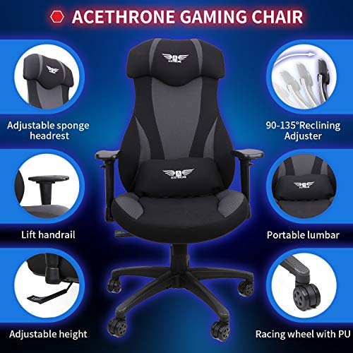 Mobility Height and Reclining Device High Back Chair for Adults Acethrone Gaming Racing Office Chair with Mesh,Ergonomic Adjustable Swivel Chair Recliner with Lumbar Pillow and Headrest Yellow