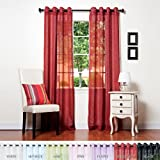 "Best Home Fashion Crushed Voile Sheer Curtains - Antique Bronze Grommet Top - Burgundy - 52""W x 84""L - (Set of 2 Panels)"