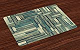 Ambesonne Wood Print Placemats Set of 4, Lumberjack Old Vintage Classic Deck Tree Forest Woods Natural Artwork Image, Washable Fabric Placemats for Dining Room Kitchen Table Decor, Sage Green Beige