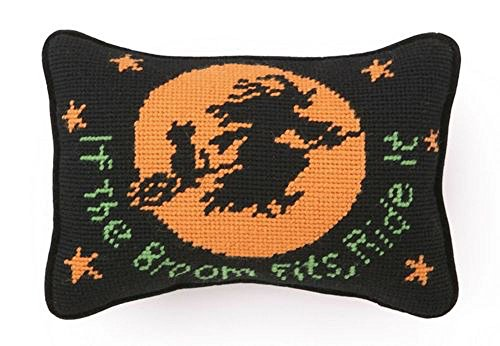 Ride It Halloween Witch Needlepoint Wool Throw Pillow, 6.5 Inch X 9 (Needlepoint Wool Throw Pillow)