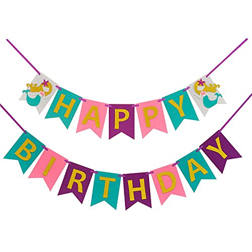 Mermaid Happy Birthday Banner( Assembled)with Glitter Gold Letters,Birthday Colorful Felt Banner,Mermaid Party Decorations Favors,Mermaid photo props, Birthday Party Supplies For Cute Fairy -