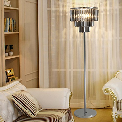 WENBO HOME- Simple Modern LED K9 Crystal Floor Lamp, Living Room Bedroom Creative Iron Floor Lamp Decoration 38160cm -floor lamp ( Color : Smoke gray ) - Gray Smoke Crystal
