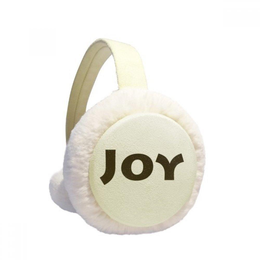 Joy Word Inspirational Quote Sayings Winter Earmuffs Ear Warmers Faux Fur Foldable Plush Outdoor Gift