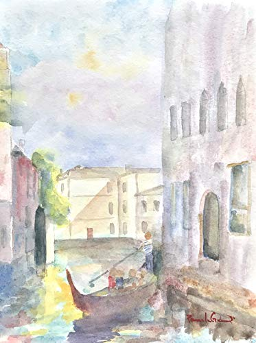 Original Watercolor, Venice Canal, 9 by 12