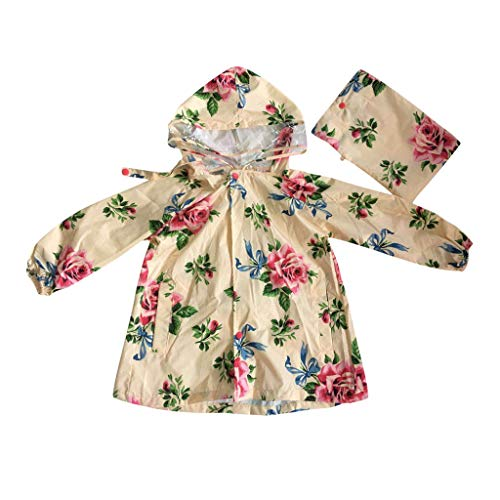 Children Kids Boy Girl Raincoat Rain Floral Print Lightweight Rainwear Slicker Waterproof Reflective Children Hooded Rainwear Set (2-4 Years, Begie)