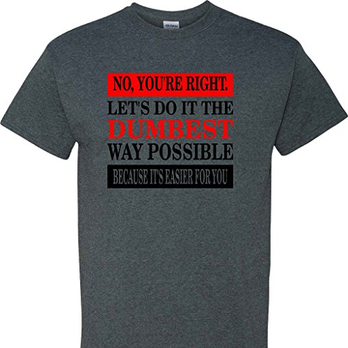 No Youre Right  Letss Do It The Dumbest Way Possible  On A Dark Heather T Shirt  Dark Heather