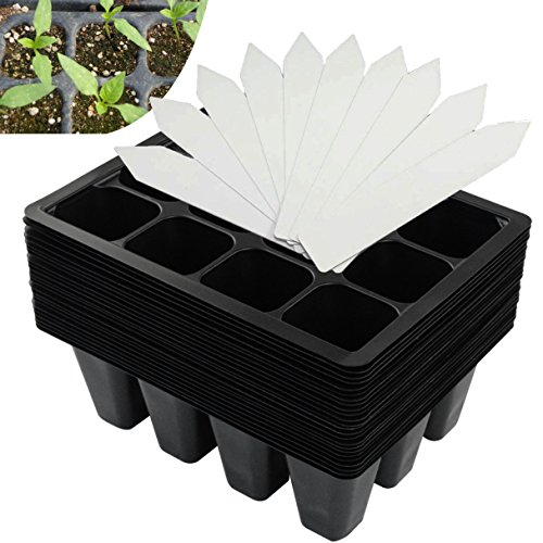 288 Cells Seedling Starter Trays for Seed Germination (24 Trays; 12-cells Per Tray) Germination Trays Plus 10 Plant Labels by cnomg