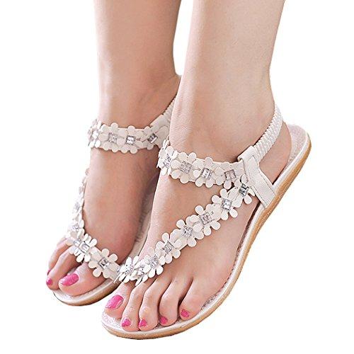 Zeagoo Women Bohemia Flower Beads Flip-flop Shoes Flat Sandals (US 6.5, White Rhinestone)