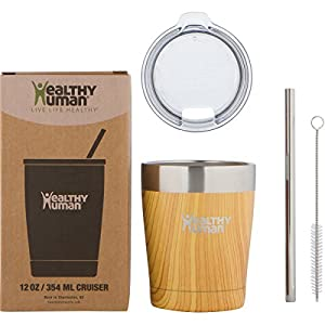 Healthy Human Insulated Tumbler Cruisers with Stainless Steel Straw & Clear Lid - Keeps Hot & Cold Beverages 2 Times Longer - Vacuum Double Walled Thermos 12 oz. Golden Oak