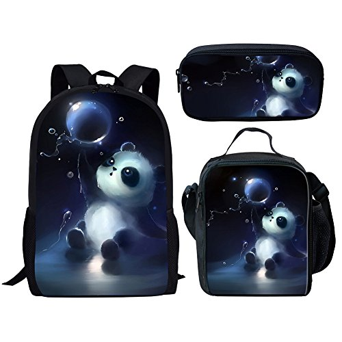Middle School Student Backpack Lunch Bag Set Pen Bags For Boys Fashion Durable Daypack Panda Print ()