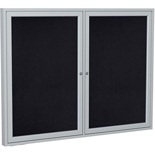 Ghent 48''x60'' 2-Door indoor Enclosed Recycled Rubber Bulletin Board, Shatter Resistant, with Lock, Satin Aluminum Frame,Black (PA24860TR-BK) ,Made in the USA by Ghent