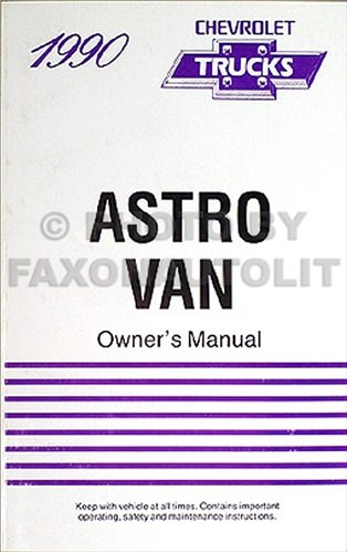 1990 Chevrolet Astro Van Original Owner's Manual 90 Chevy