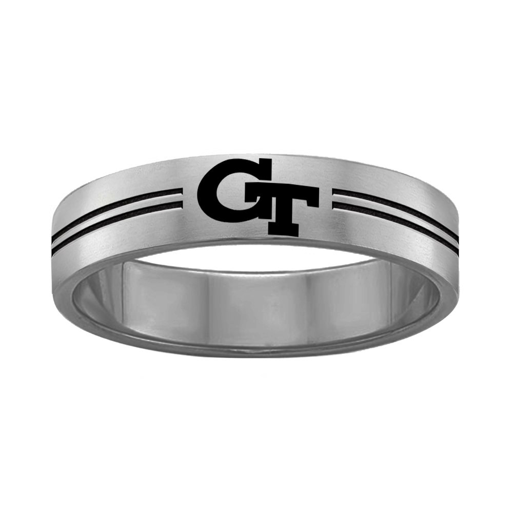 Georgia Tech Yellow Jackets Rings Stainless Steel 8MM Wide Ring Band - Double Line Style (7.5)