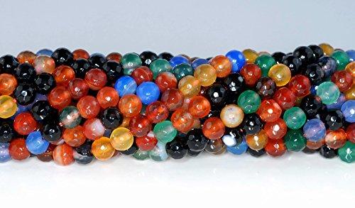- jennysun2010NaturalMulti-Colored Agate Gemstone 3mm FacetedRoundLooseBeads Length15.5''Inches(38.5cm)1StrandperBagforBraceletNecklaceEarringsJewelryMakingCraftsDesignHealing