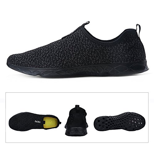KEALUX Männer Frauen Leichte Wasser Schuhe Mit Entwässerung Löcher Auf Unten Walking Sneaker Quick-Dry Wasser Sport Barfuß Schuhe Für Wasser Aktivitäten Schwarz