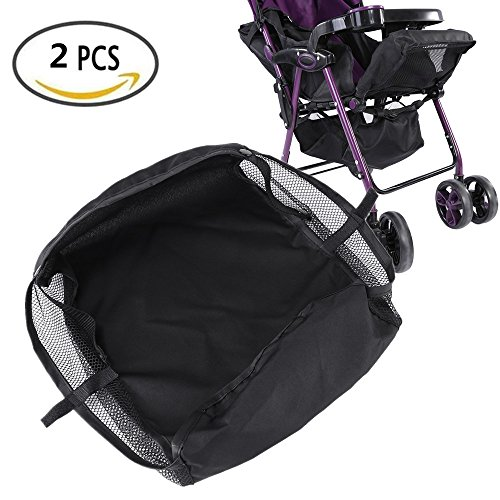 Stroller Bottom Storage Bag, 2PCS Installable Baby Car Buggy Pushchair Basket Shopping Case Organizer with Magic Sticker and Buttons, A Stable Firm Place for Placing Kid's Supplies by Yosoo