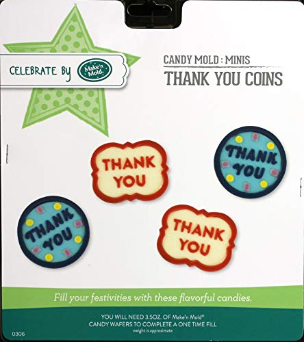 CybrTrayd 0306-HL Thank You Coins Chocolate Candy Mold 6 Pack with CybrTrayd Copyrighted Instructions