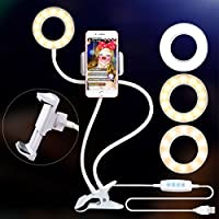Ring Light with Cell Phone Holder for Live Stream, Dimmable [3-Light Mode][9-Level Brightness] Clamp on Selfie Light with Lazy Bracket for Youtube, Facebook, iphone 7,6/plus,Samsung,HTC,White (white)