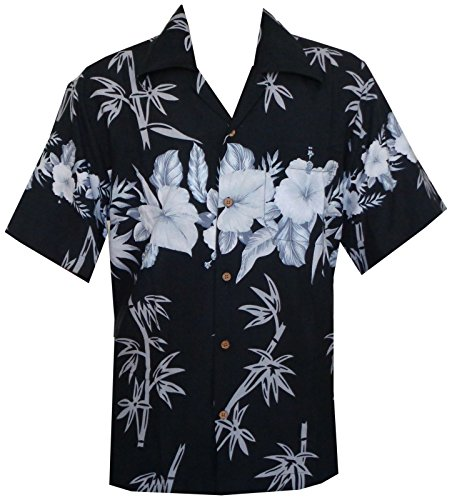 (Hawaiian Shirts Mens Beach Aloha Party Holiday Camp Casual Short Sleeve (2XL, Black))