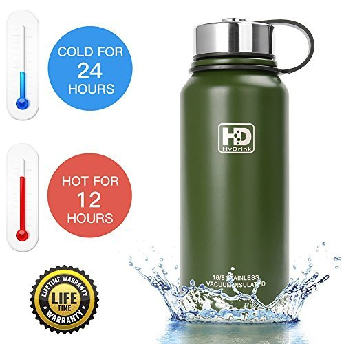 Wide Mouth Thermal Bottle - 37 oz, 27 oz, 21 oz Stainless Steel Vacuum Insulated Water Bottle, Wide Mouth with Leak Proof Cap and Built-in Filter (Army Green, 50oz)