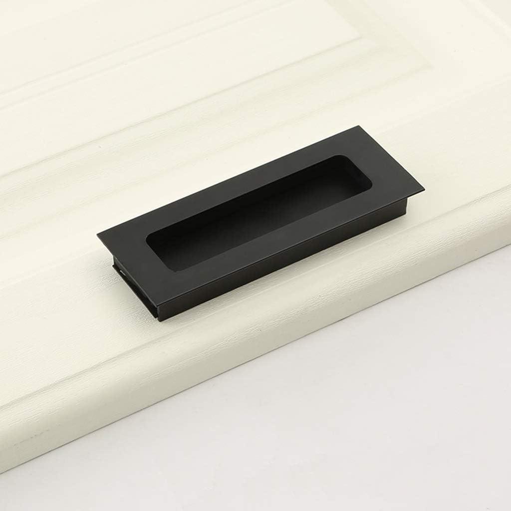Manija incorporada en la manija de la puerta, cajón invisible manija oscura del gabinete manija de la puerta corredera, aleación de aluminio (negro, oro, plata) (color : Negro , Tamaño :