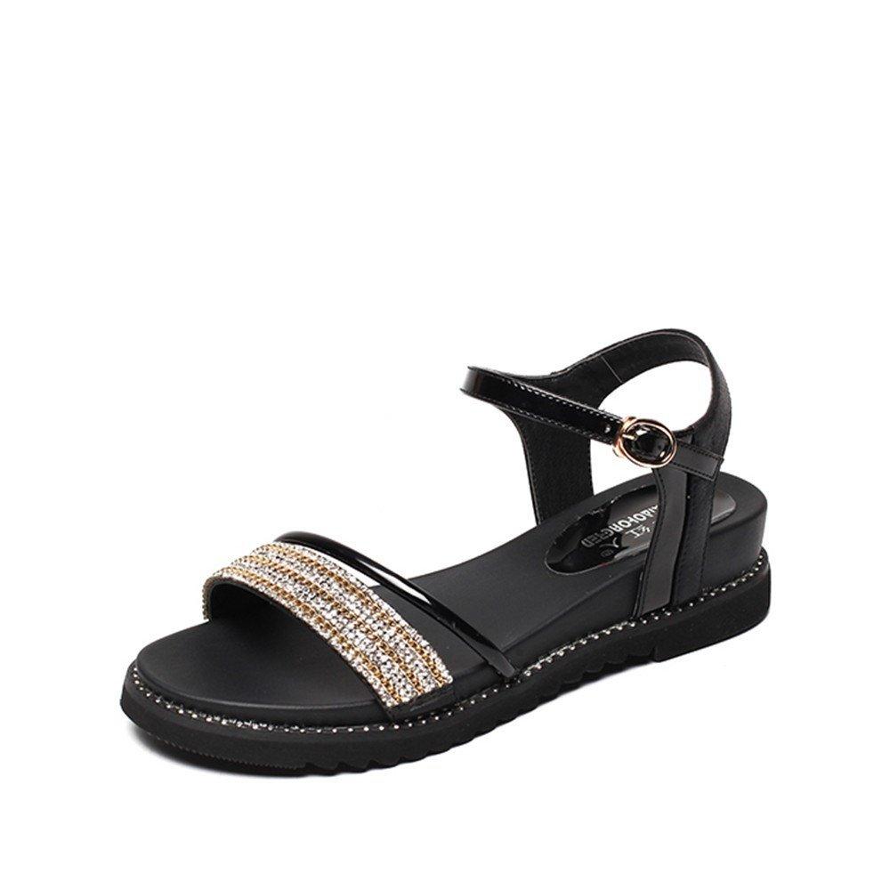 MeiMei Damen Sandalen Zehentrenner Flach Sandaletten Sandalen Weibchen mit Hong MEI Retro Dick mit Schuhe Wilde Piste Geschlitzt  40 EU|1 Color