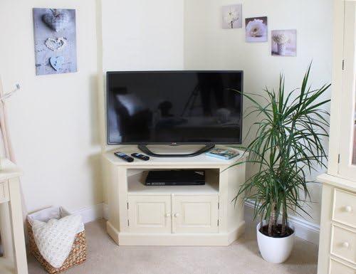 Muebles de caoba Devon negro y blanco crema mueble de esquina para televisor: Amazon.es: Hogar
