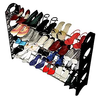 Xixou Concise Integration Black & White 4 Layers 20 Pairs Shoe Rack Ship From USA Warehouse