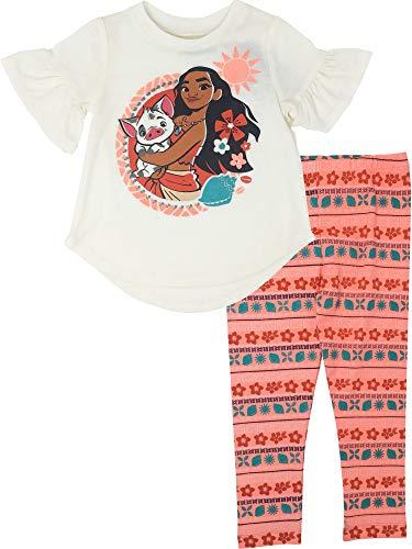(Disney Moana Toddler Girls' Short Ruffle Sleeve Top & Leggings Set, White (3T))
