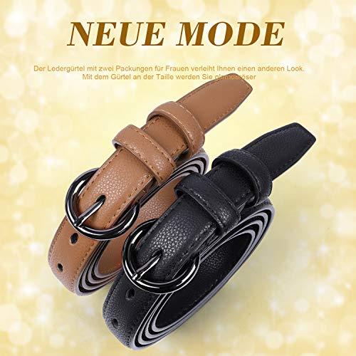 WERFORU Damen Skinny Ledergürtel für Jeans Hosen Kleid Damen Einfache Taille Gürtel