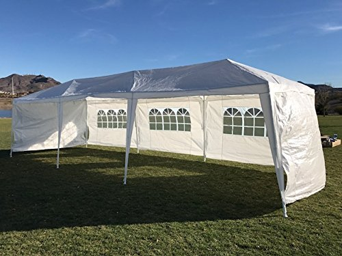 Palm Springs Outdoor 10 x 30 Wedding Party Tent Canopy with 5 Sidewalls (10 Garden Party Canopy)