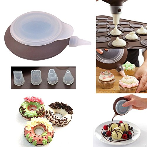 Journey's Edge 6 Piece Macaroon Kit, BPA Free Silicone Non Stick Baking Sheet, DecoMax Pen, Brown, Perfect For Holiday/Special Occasion Cookies, Cake Decorating,Frosting Many Other Baked Goods!