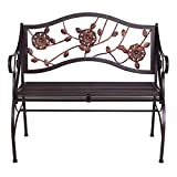 AHHC INC Metal Patio Garden Bench Porch Chair with Armrest & Backrest,for 2 Seaters