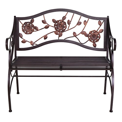 AHHC INC Metal Patio Garden Bench Porch Chair with Armrest & Backrest,for 2 Seaters by AHHC INC