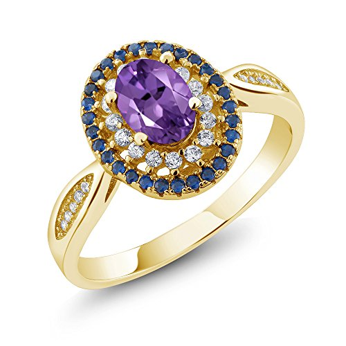 - Gem Stone King 1.35 Ct Oval Purple Amethyst 18K Yellow Gold Plated Silver Ring (Size 6)