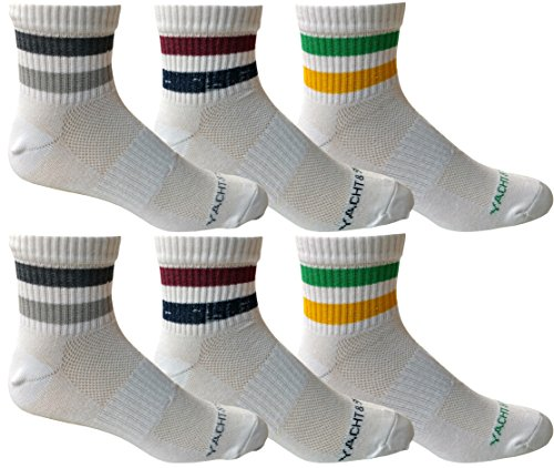 6 Pairs of Yacht&Smith Mens Short Crew Socks, Patterned Sports Sock, Mesh Top (Retro Striped) (Striped Basketball Shorts Mesh)