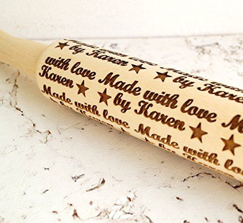 Embossing rolling pin, Personalized Rolling Pin Made with love by ... design, Custom wooden rolling pin, Cookies decorating roller