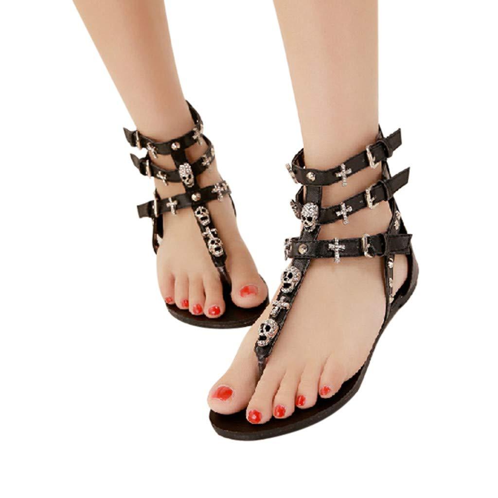 Women Bohemia Clip Toe Flip Flops Boho Human Skeleton Low Wedge Beach Sandals