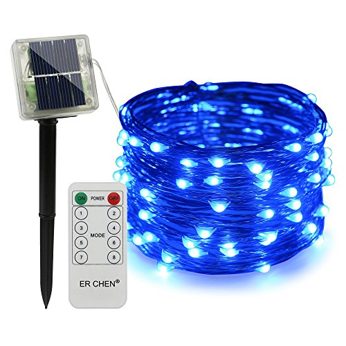 100 Blue Solar Powered Led Outdoor String Fairy Lights in US - 7