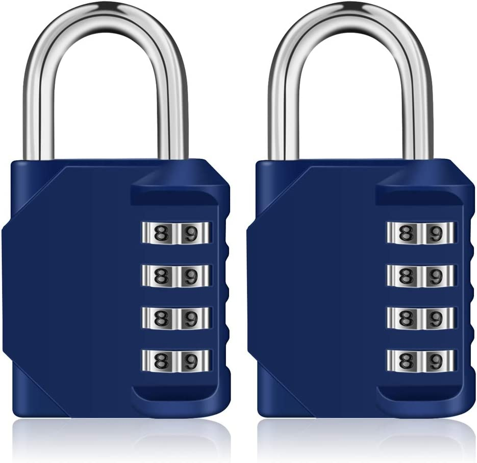 Combination Lock 2 Pack,4 Digit Padlock, Gym Lock, Employee Lock, School Locker, Fence Lock. Hasp Cabinet & Storage - Set Your Own Keyless Resettable Combo, Waterproof and Weatherproof