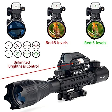 UUQ 4-16x50 Tactical Rifle Scope Red/Green Illuminated Range Finder Reticle W/ Integrated Red Laser Holographic Dot Sight (12 Month (Green Dot Laser For Gun)