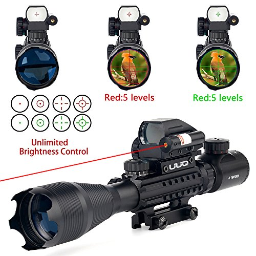 UUQ-4-16x50EG-AR15-Tactical-Rifle-Scope-RedGreen-Illuminated-Range-Finder-Reticle-W-RED-Laser-and-Holographic-Dot-Sight-for-22mm-Rail-Mount-12-Month-Warranty