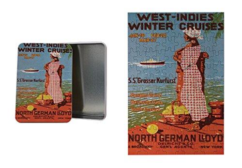 Cruise Vintage Print (Cruises Vintage Poster Metal Tin Trinket Box (4