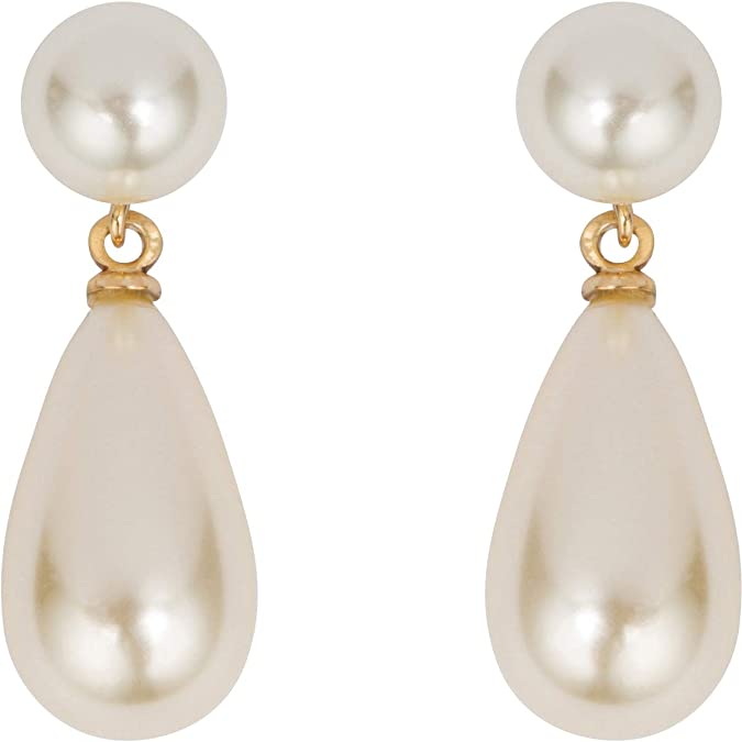 Vintage Style Jewelry, Retro Jewelry Grace Kelly Collection Simulated Pearl Drop Earrings with Velour Covered Steel Box $39.99 AT vintagedancer.com