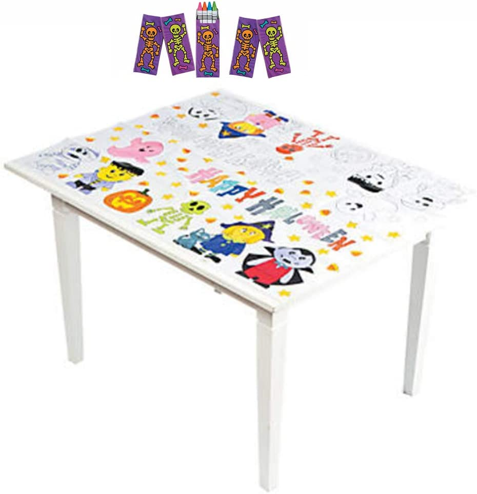 Coloring TableCloth Halloween Activities for Kids with 5 Halloween Decorated Box Crayons