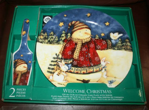 Gibson Christmas Holiday 2 Piece Cake Plate Snowman Server Set