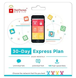 Red Pocket Mobile Express 30 Day Prepaid Phone Plan, No Contract, Free SIM Kit; Unlimited Talk, Unlimited Text & 1 GB of LTE Data